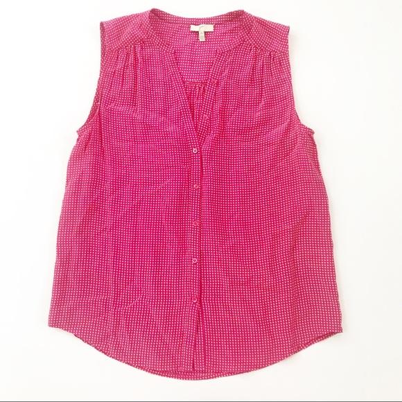 Joie Tops - Joie Silk Shirt Top gingham XS pink sleeveless